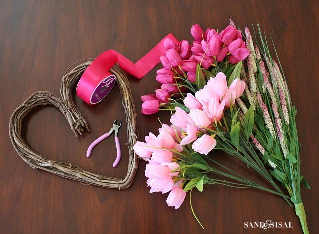 Tulip Heart Wreath Supplies