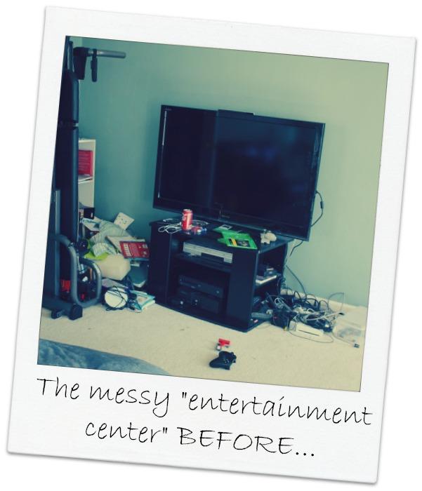 messy entertainment center