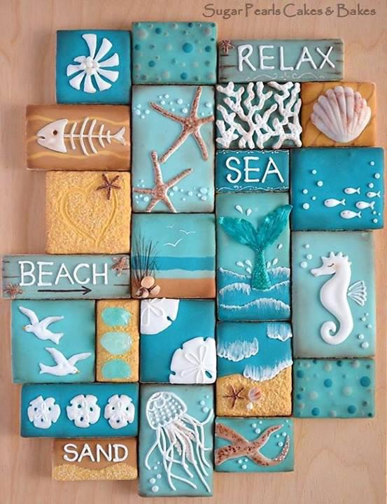 Coastal cookie collage