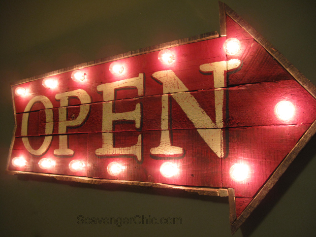 Pallet Wood Open Marquee Sign