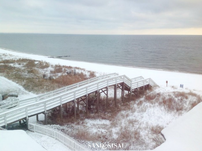 Snowy beach and boardwalk