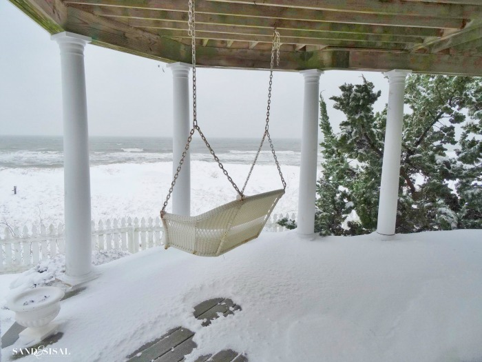 Snowy Beach - porch swing
