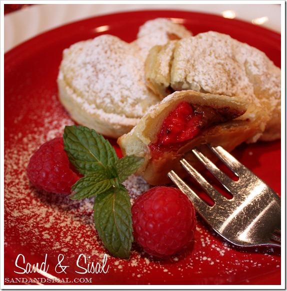 chocolate raspberry valentine croissants