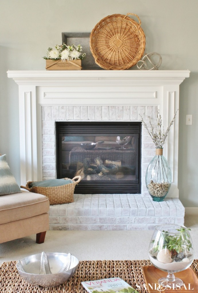 White Washed Brick Fireplace Makeover