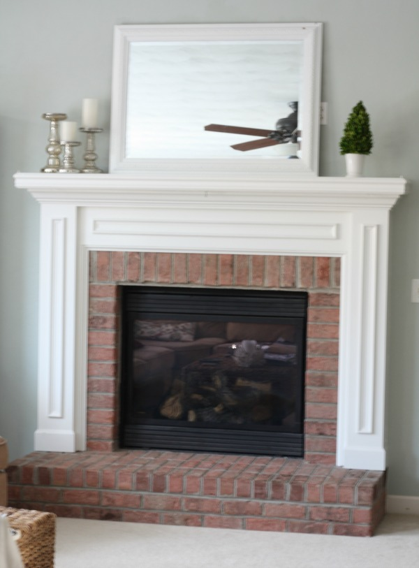 salmon brick fireplace