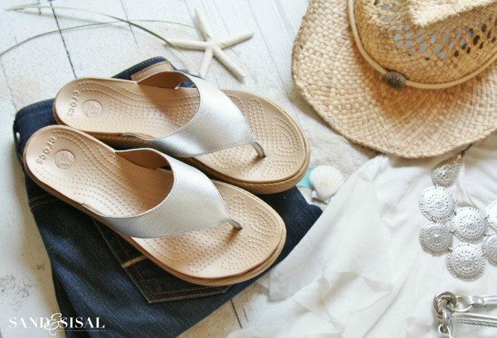 Brushed Silver Sandals - by CROCS (Yes Crocs!) I love this look!!!! Super cute!