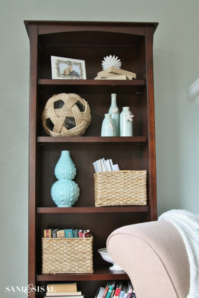 Styling Bookcases - Coastal Bookcase - Glass Floats, rope, turquoise