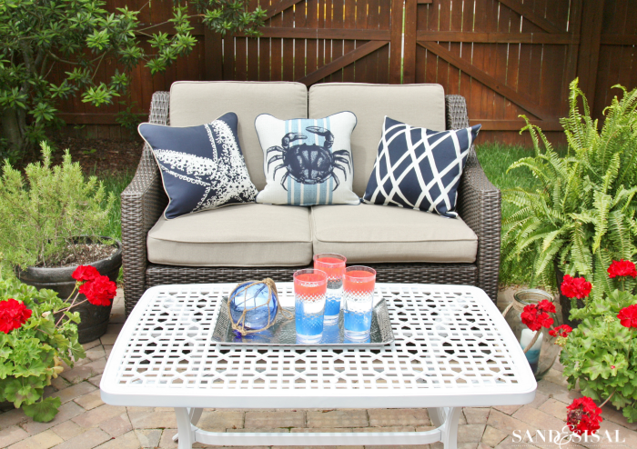 A Red White And Blue Coastal Patio