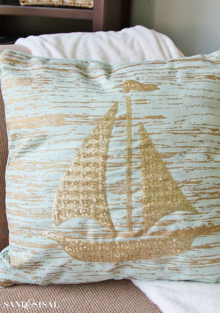 Gold Leaf and Sequin Sailboat Pillow