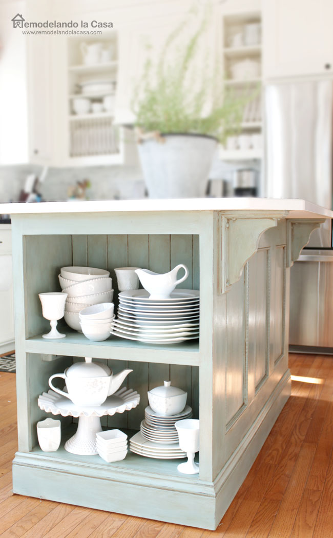 Feature friday beautiful makeover projects you can do for Duck egg blue kitchen island