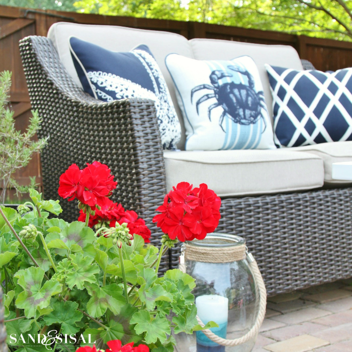 A Red, White, and Blue, Coastal Patio