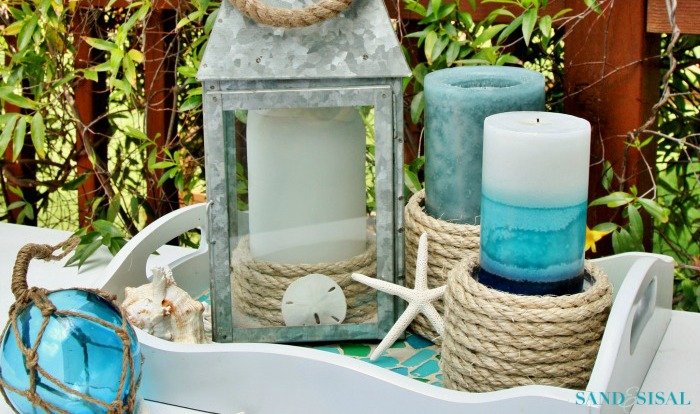 Sisal Rope Candle Holders - an easy coastal craft