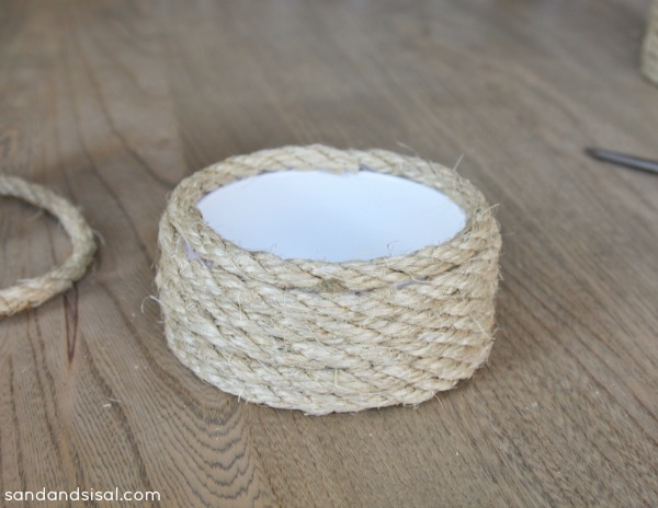 make a sisal candle holder out of pvc pipe