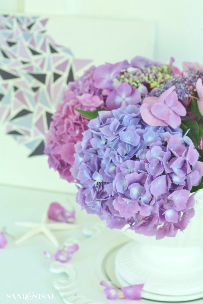hydrangea arrangement ideas  sand and sisal, Natural flower