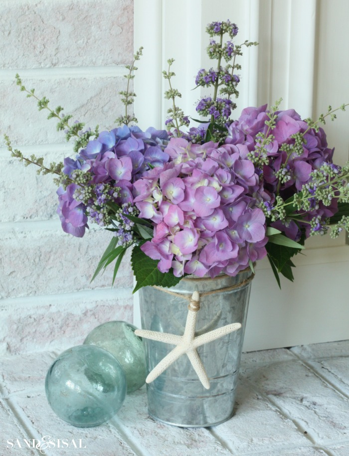 Hydrangeas in a Galvanized Pail
