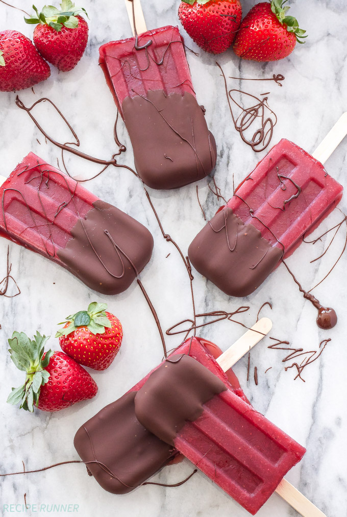 Chocolate Dipped Strawberry Red Wine Popsicles