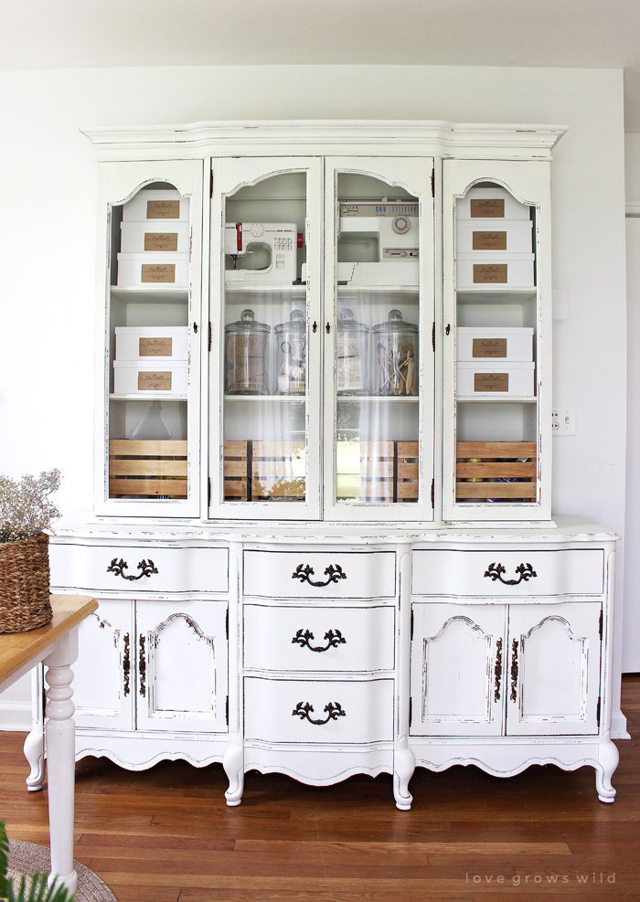 Office-Storage-Hutch-Makeover-in white chalk paint