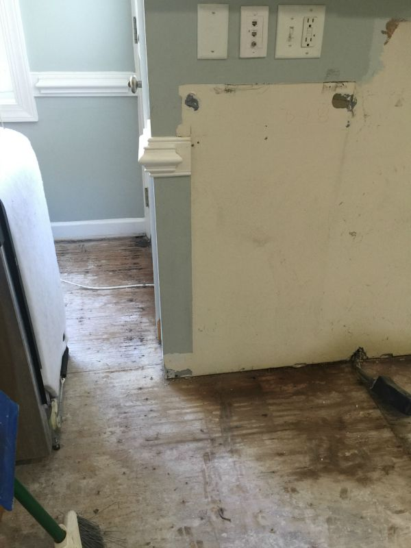 Water subfloor damage stove to backdoor
