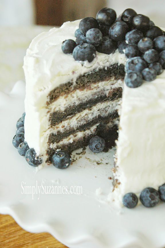 blueberry cake with lemon whipped cream