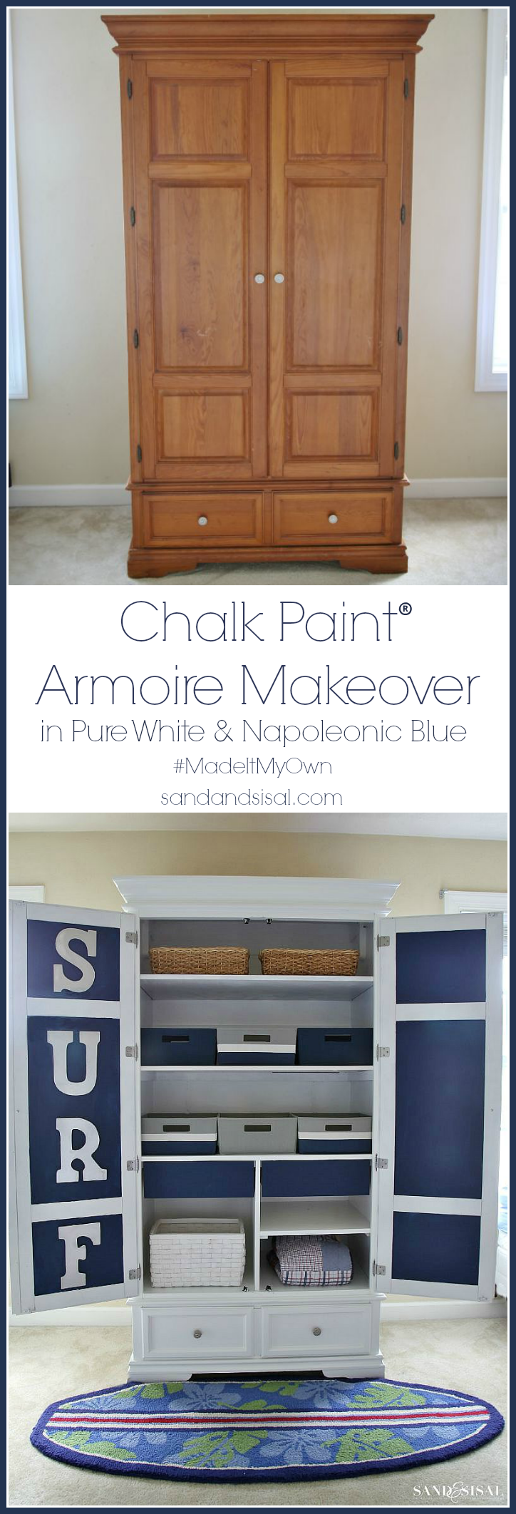 Chalk Paint Armoire Makeover in Pure White and Napoleonic Blue #madeitmyown