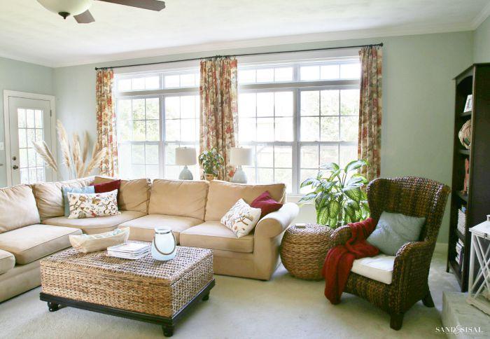 hi-tech family room window treatments - sand and sisal
