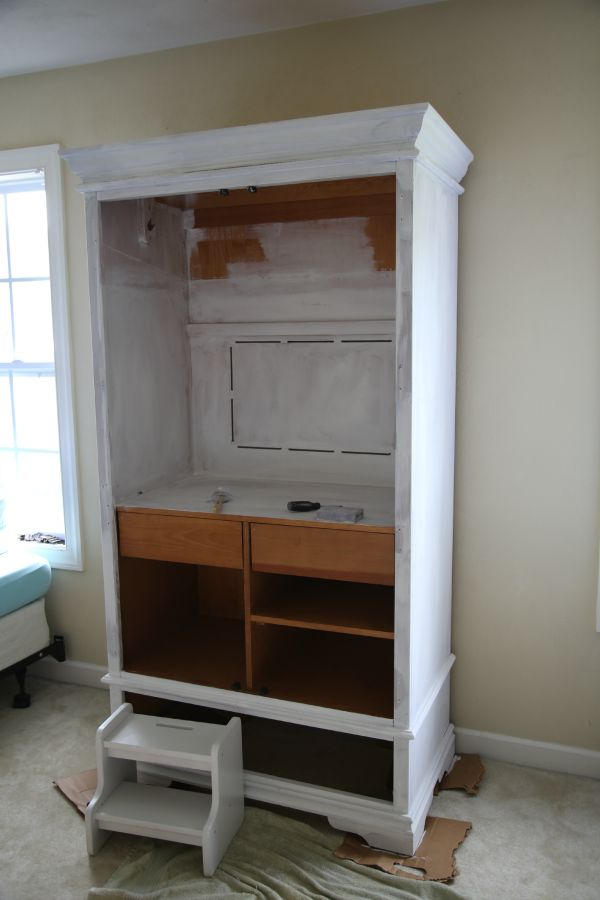chalk painted armoire - 1 coat