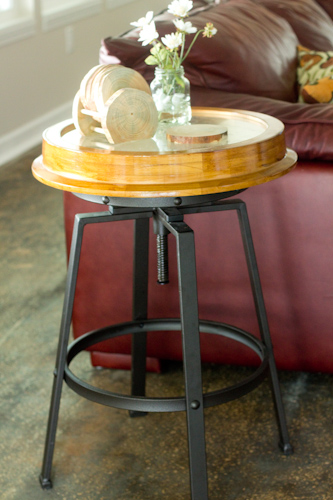 DIY -clock-table - made from a bar stool and a thrift store clock. How creative!