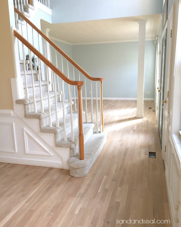 Freshly sanded White Oak Hardwood Floors