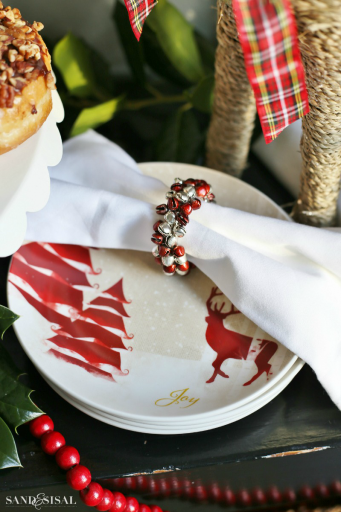 Christmas Reindeer Dessert Plates + Jingle Bell Napkin Rings