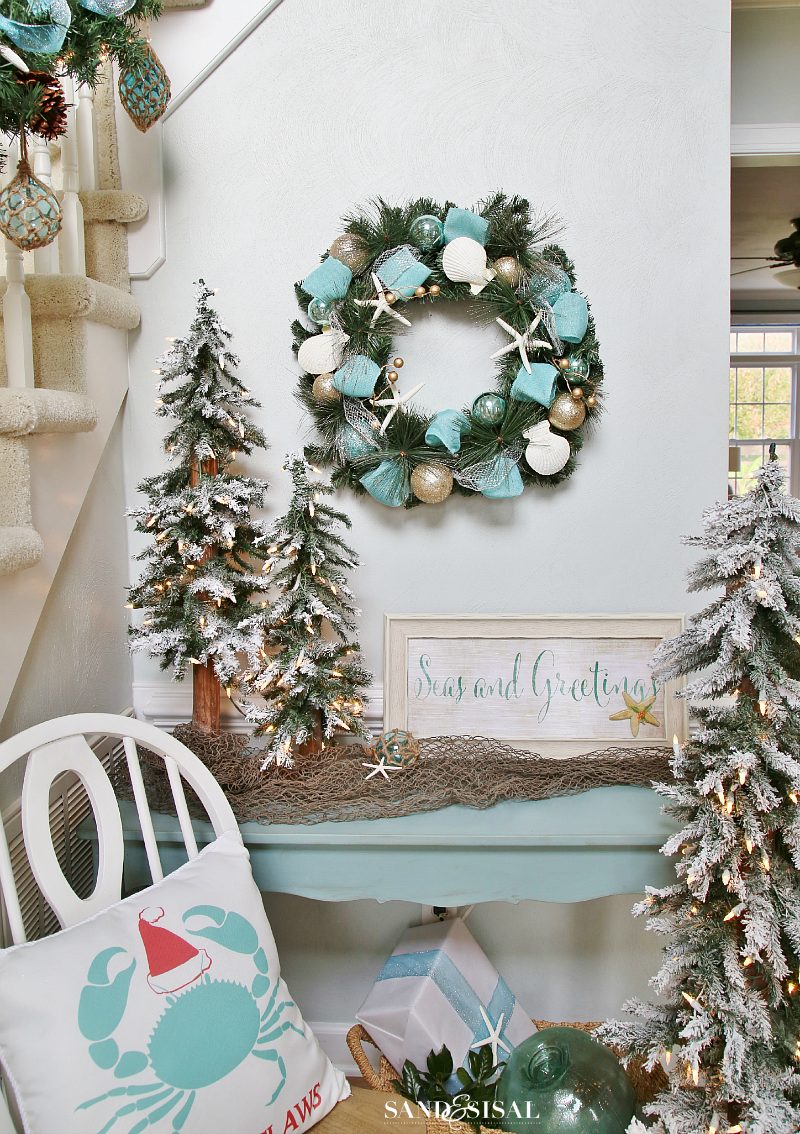 Coastal Christmas Foyer - Aqua and Gold