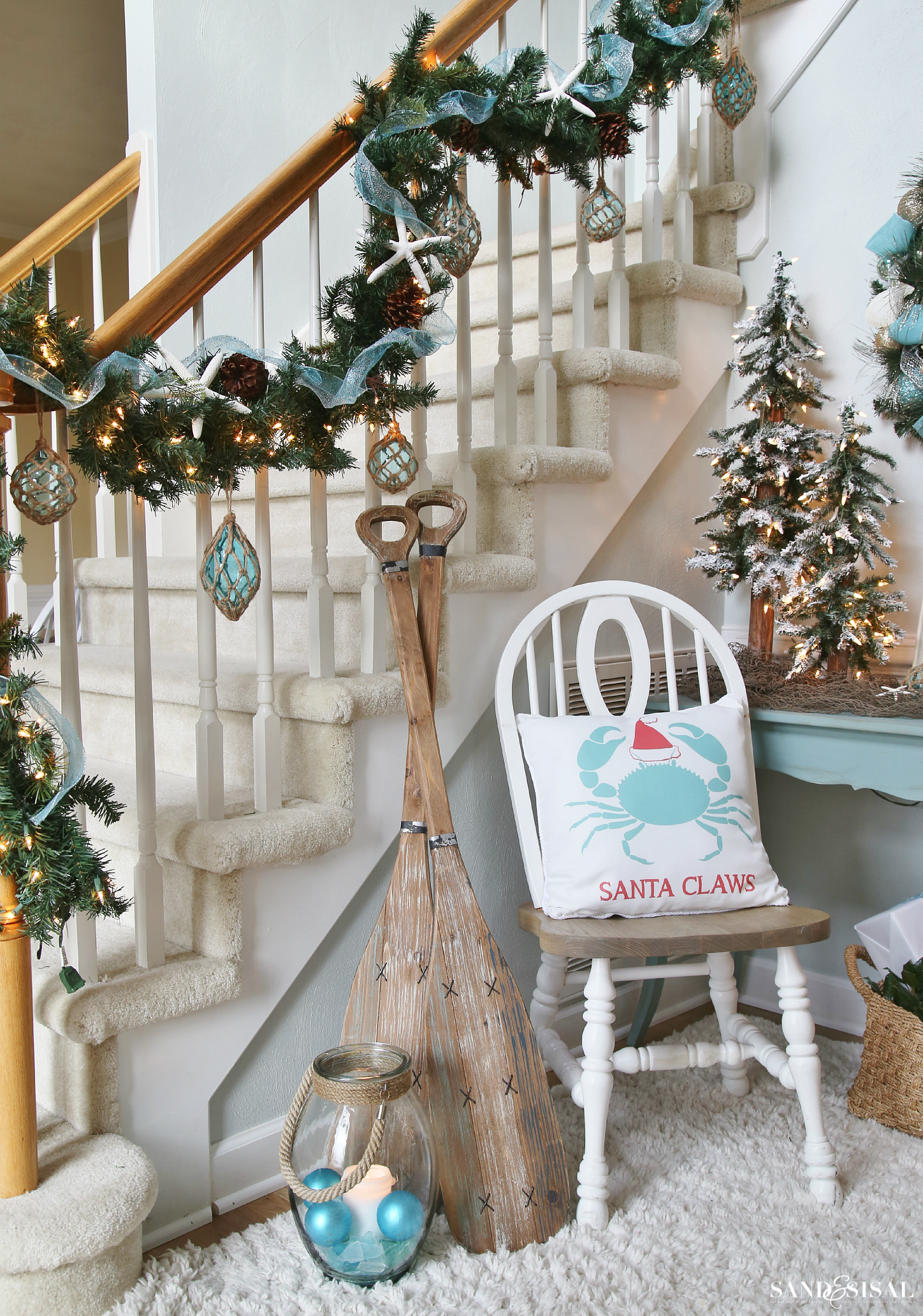 Coastal Christmas Garland and decor