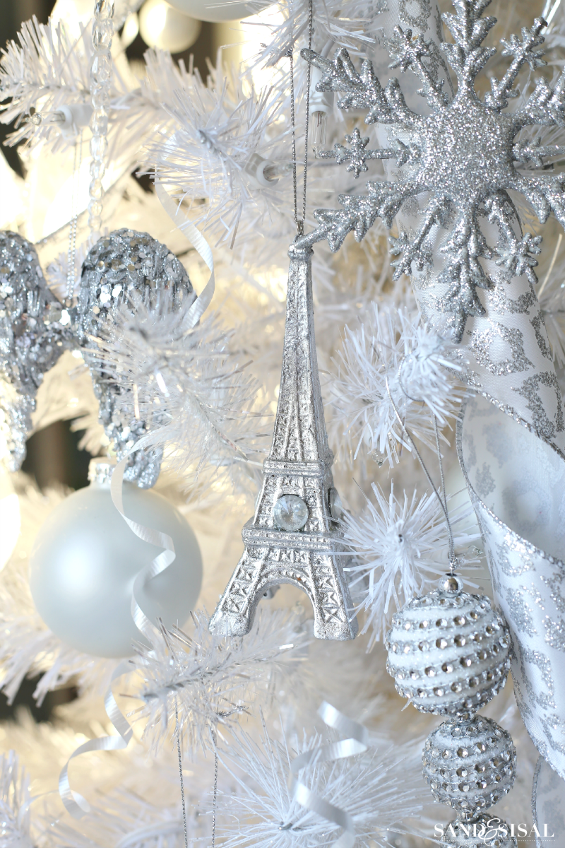 eiffel tower ornaments white christmas tree - Winter Wonderland Christmas Decorations