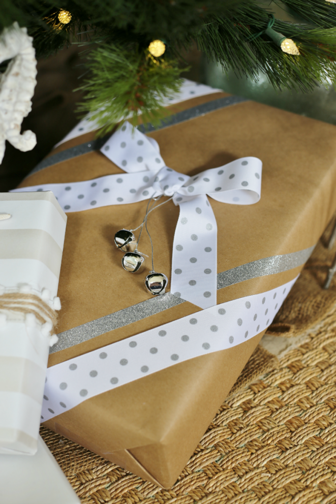Holiday Gift Wrapping Ideas - washi tape, ribbon, jingle bells