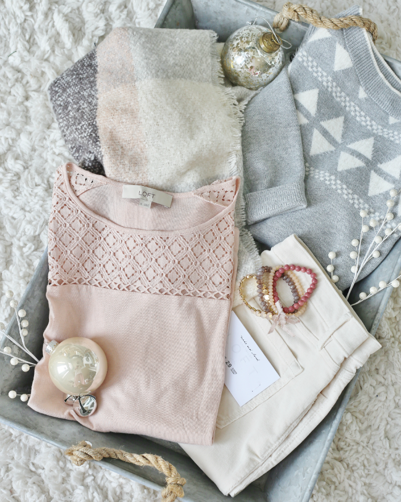 Pink, cream, and gray LOFT Apparel