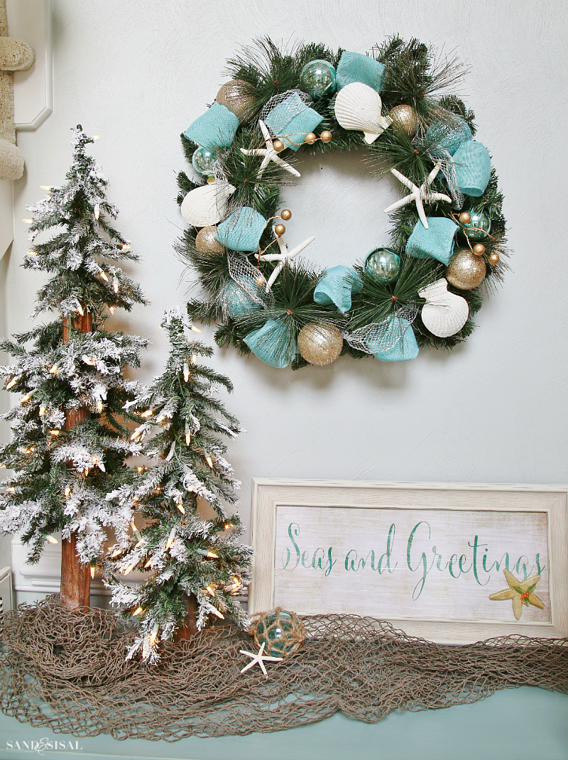 Seas and Greetings - Coastal Christmas Wreath