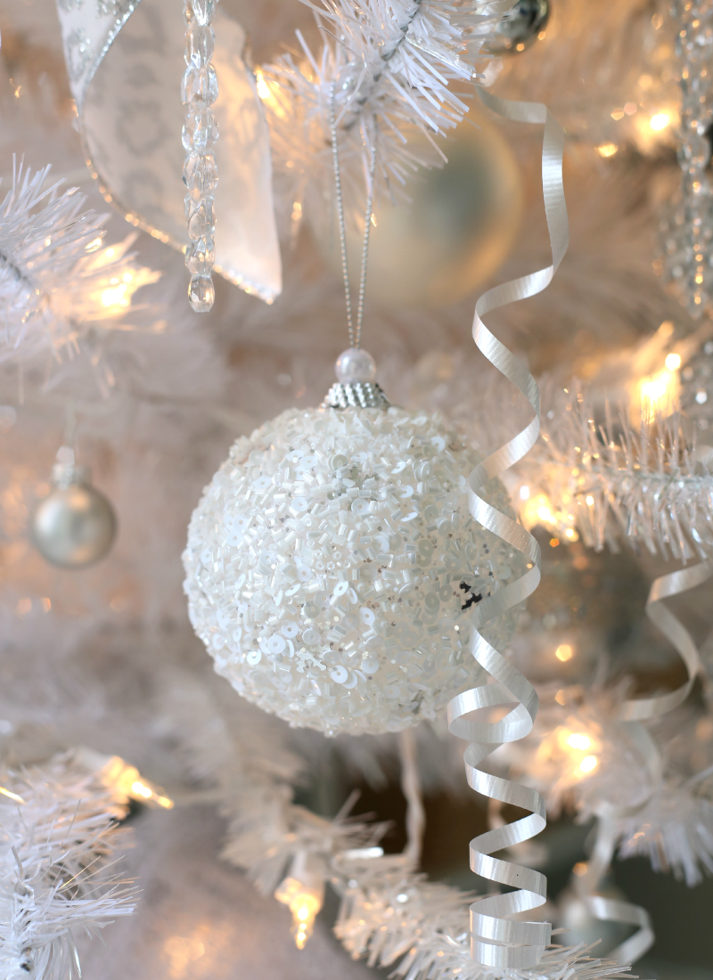 white glittered snowball ornament