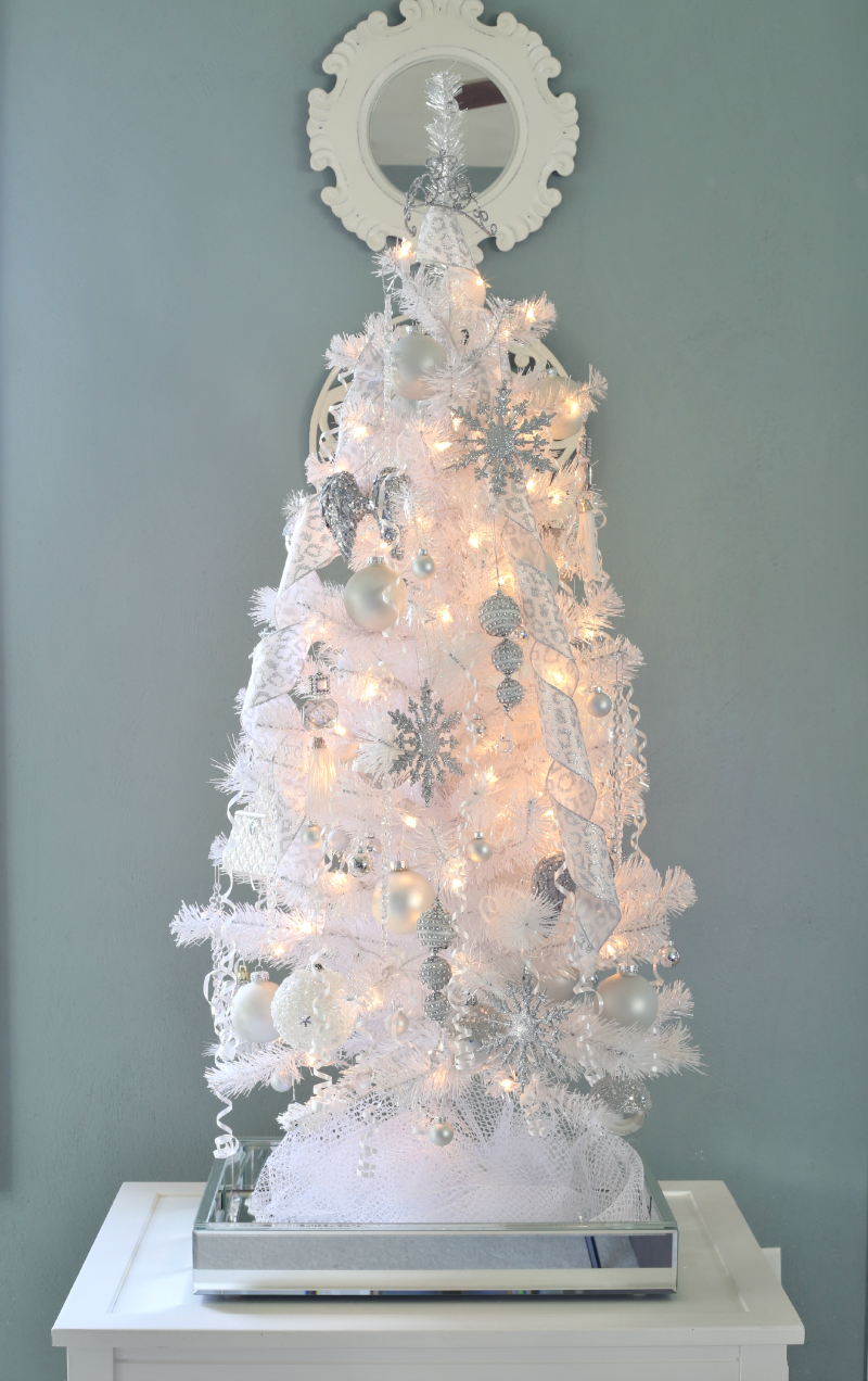 winter white wonderland tabletop christmas tree - Winter Wonderland Christmas Decorations