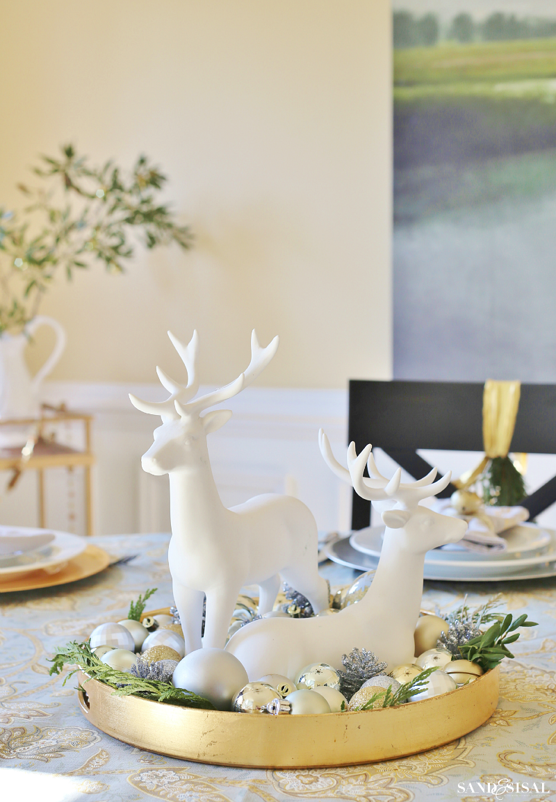Christmas Centerpiece - Reindeer and Ornaments