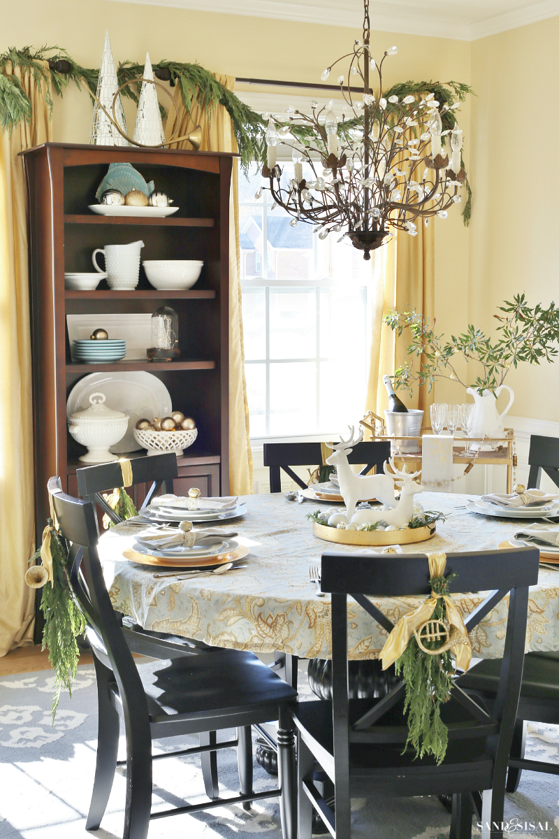 Christmas Dining Room - silver and gold