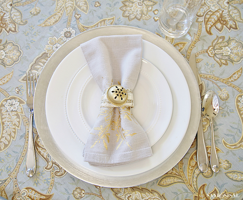 Silver and Gold Placesetting with DIY Jingle Bell Napkin Rings
