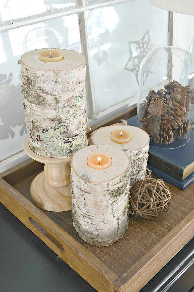 White Paper Birch Log Candle Holders