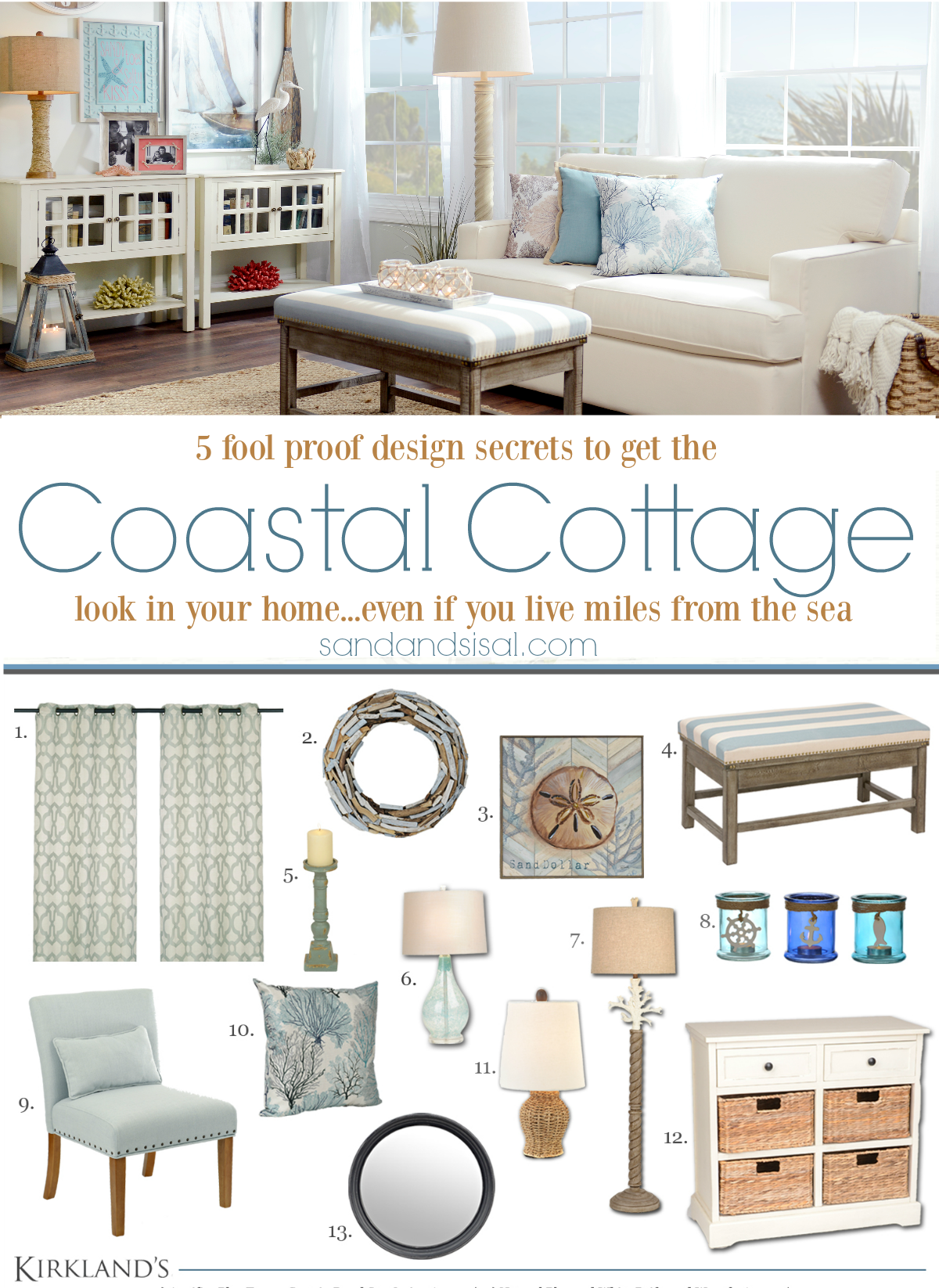 Get these 5 easy and fool proof design secrets to get the Coastal Cottage look in your home, even if you live miles from the sea. Bring a bit of the shore inside!