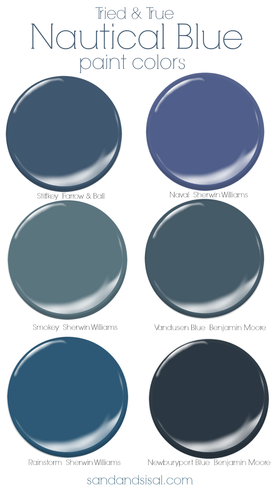 Tried and True Nautical Blue Paint Colors. Clean, classic and bold! See examples of the navy blue colors in rooms.