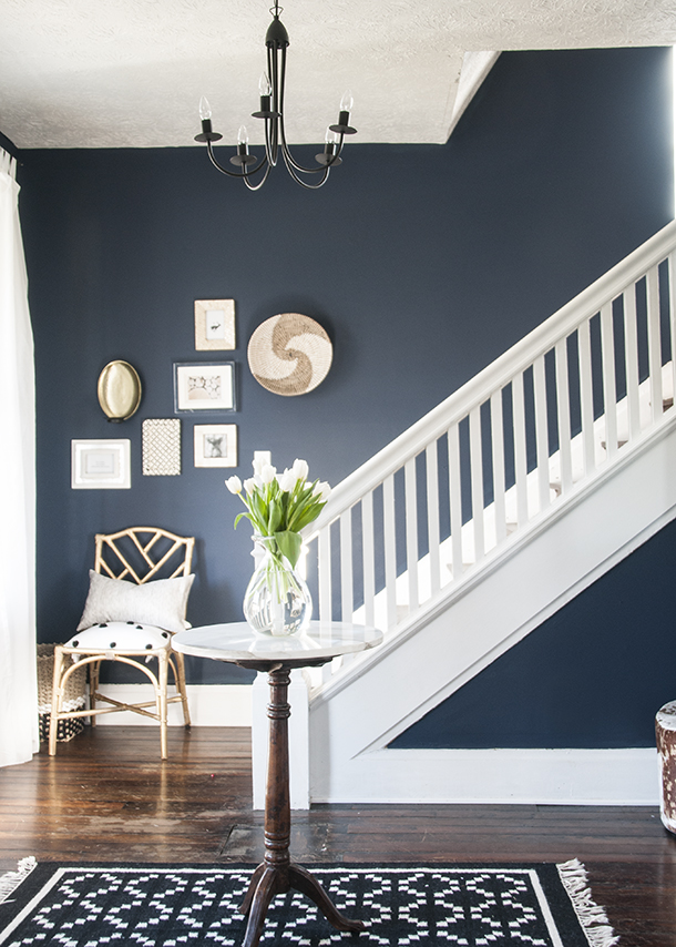 Navy-Entryway-Walls- SW Naval - Tried and True Nautical Blue Paint Colors