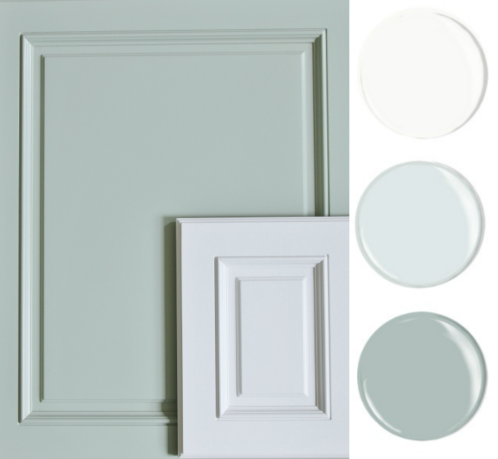 Oyster Bay and White Kitchen Cabinets