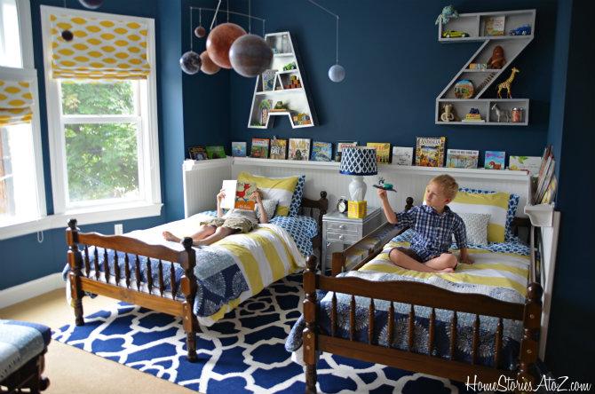 Sherwin Williams Rainstorm - Boys Room Makeover. Tried and True Nautical Blue Paint Colors