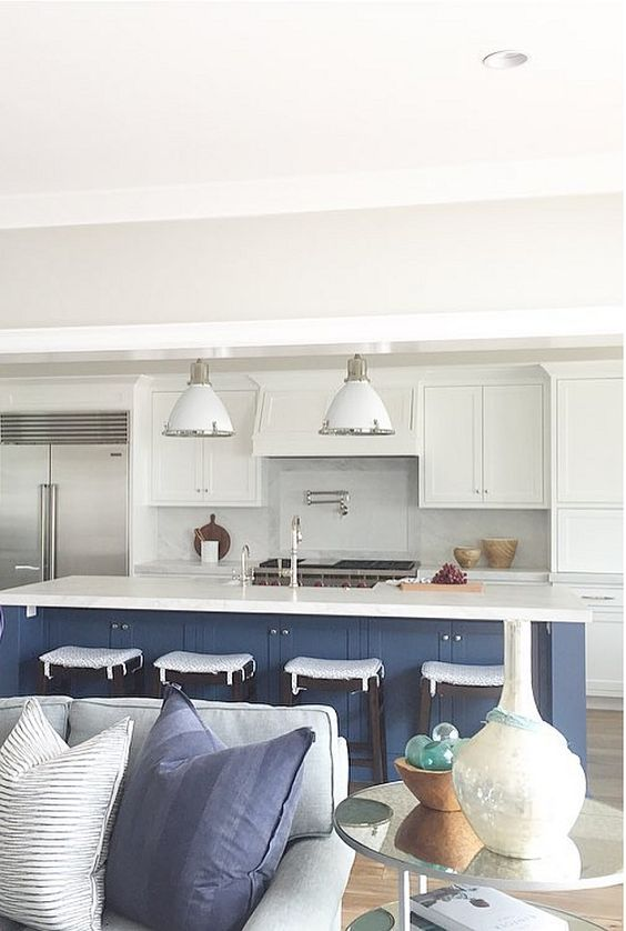 Stiffkey Blue and White Kitchen - Tried and True Nautical Blue Paint Colors