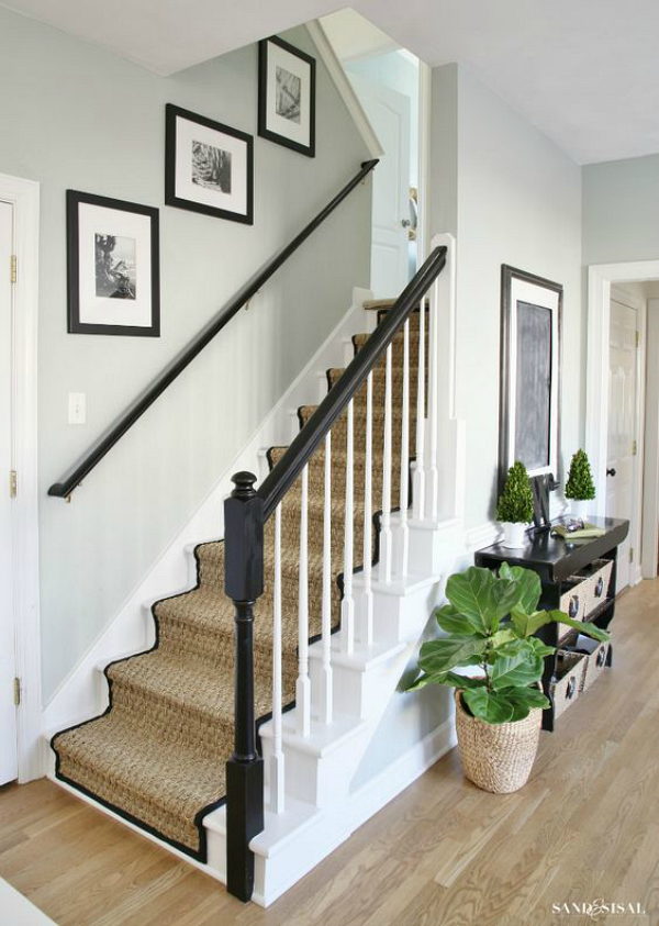 Black And White Painted Staircase With Seagr Runner