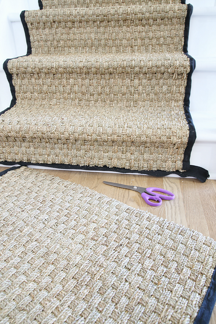 Cutting a Seagrass Rug - Installing a seagrass stair runner tutorial.