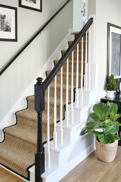 Painted Staircase Makeover with Seagrass Runner